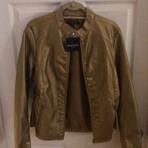 Baccini gold zip up jacket. Brand new. Size large.